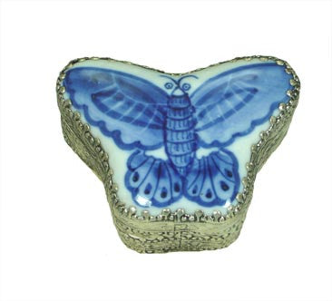 Small Butterfly Porcelain Top Silver Box