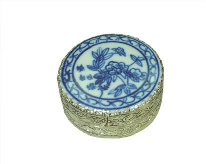 Small Flower Porcelain Top Circular Silver Box