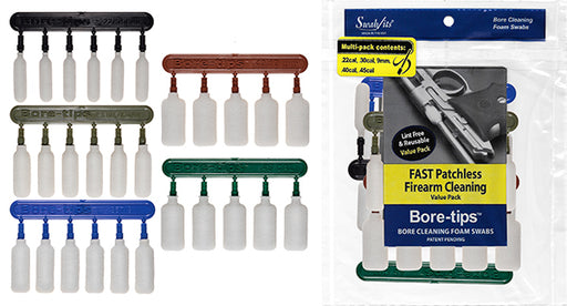 41-7100: Multi-Size Gun Cleaning Value-Pack for .22cal .30cal .357cal .40cal .45cal Bore-tips® by Swab-its®