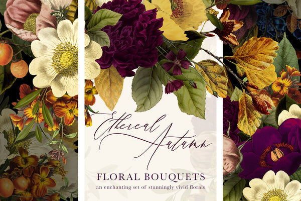 Ethereal Autumn Floral Bouquet Graphics
