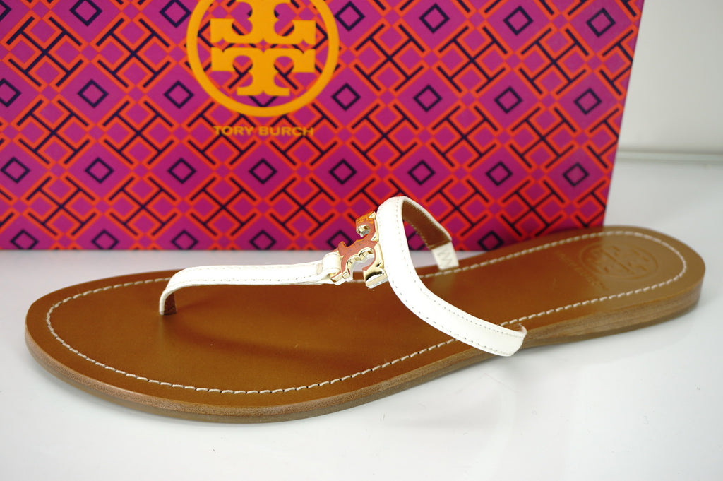 Tory Burch Ivory Patent T Logo Leather Thong Sandals Size 10 flip flop NIB $175
