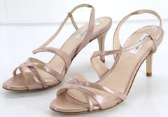 Size 37.5 LK Bennett Pink Metallic Leather Lourdes Sandals High Heels New $345