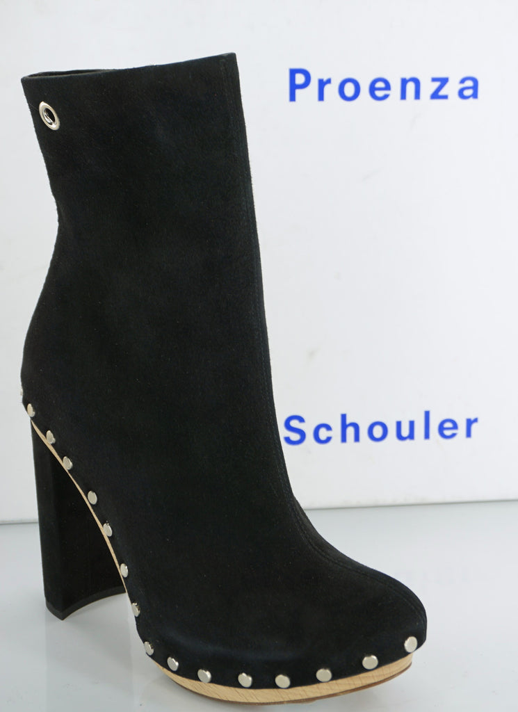 Proenza Schouler Studded Black Suede Platform Ankle Boots SZ 35 Chunky NIB $1050