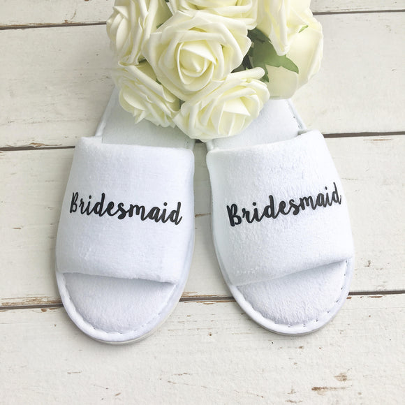 Bridesmaid Slippers Gift for Hen Party Spa Weekend or Wedding Morning