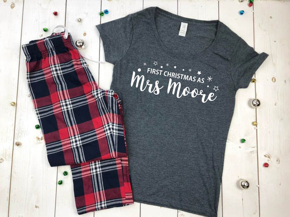 First Christmas As A Mrs Personalised Pyjamas • Bride Gift • Christmas PJS • Newlyweds Gift • Wife Gift • Christmas Eve Box