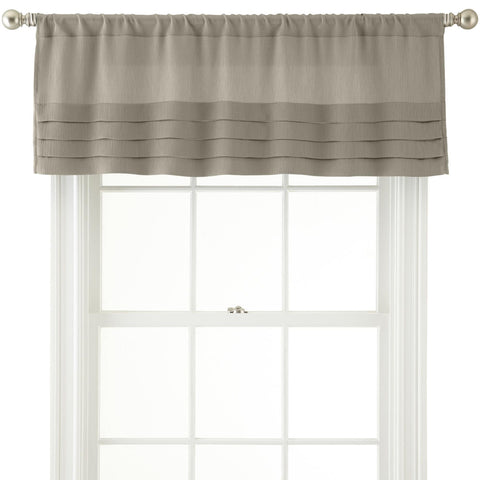 Ally Rod-Pocket Tailored Pleated Valance- Soft Platinum
