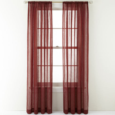 Crushed Voile Rod-Pocket Sheer Panel- Palmetto Red