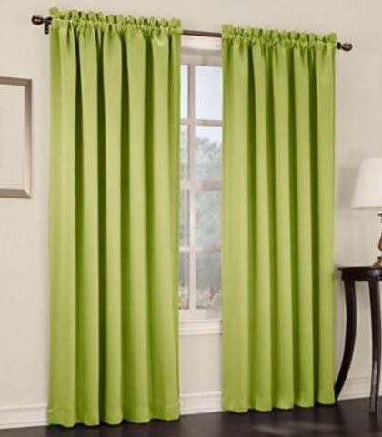 Emory 2-Pack Room-Darkening Rod-Pocket Curtain Panels- Tarragon