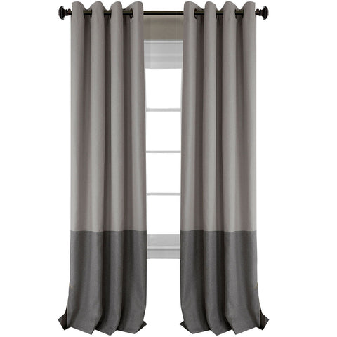 Braiden Room Darkening Grommet-Top Panel- Gray