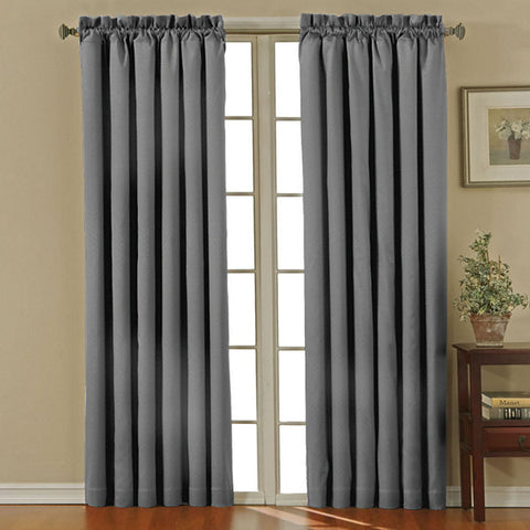 Canova Room-Darkening Rod-Pocket Panel- Charcoal