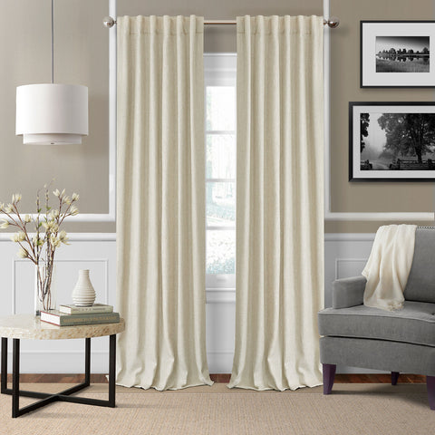 Colton Room Darkening Back Tab Panel- Ivory