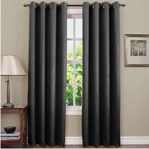 Asher Grommet-Top Curtain Panel- Smoke
