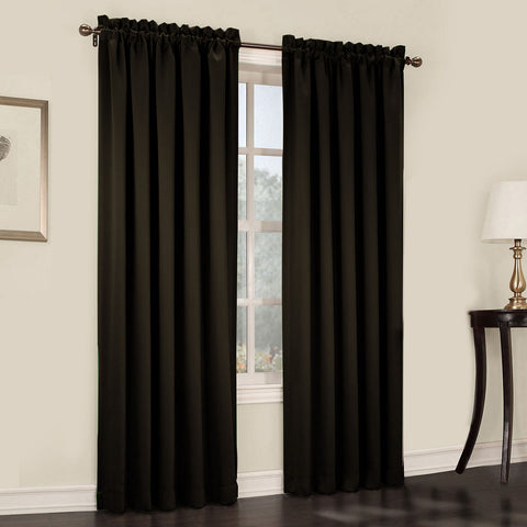 Emory 2-Pack Room-Darkening Rod-Pocket Curtain Panels- Black