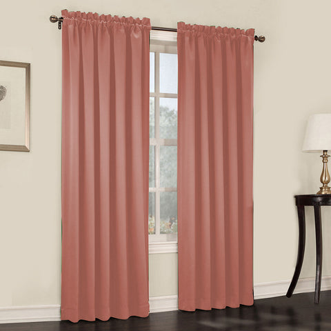 Emory 2-Pack Room-Darkening Rod-Pocket Curtain Panels- Coral