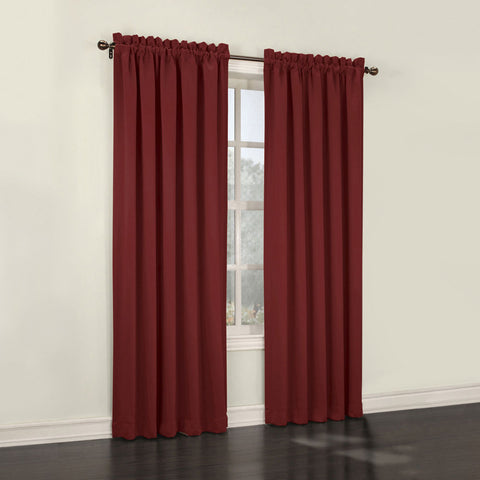 Emory 2-Pack Room-Darkening Rod-Pocket Curtain Panels- Dahlia Red