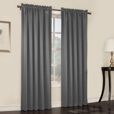 Emory 2-Pack Room-Darkening Rod-Pocket Curtain Panels- Gray