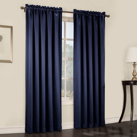 Emory 2-Pack Room-Darkening Rod-Pocket Curtain Panels- Navy