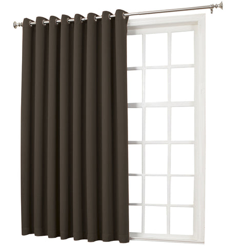 Emory Room-Darkening Grommet-Top Patio Panel- Chocolate