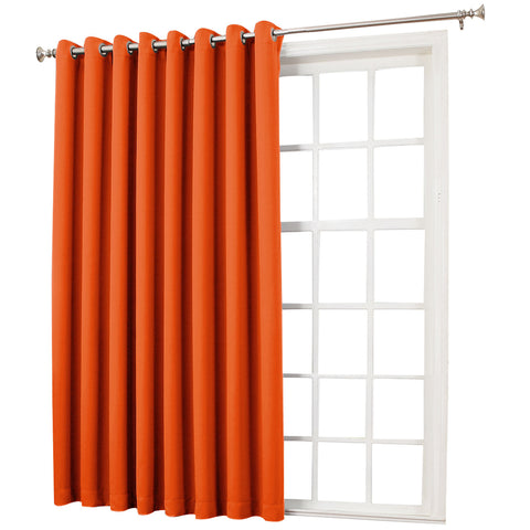 Emory Room-Darkening Grommet-Top Patio Panel- Tangerine