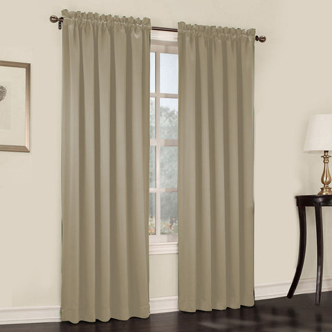 Emory 2-Pack Room-Darkening Rod-Pocket Curtain Panels- Sullivan Khaki