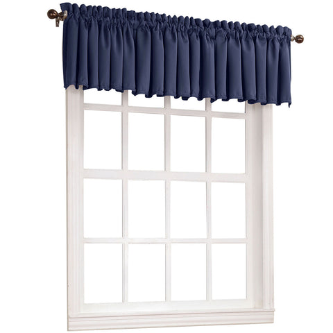 Emory Rod-Pocket Room-Darkening Valance- Navy