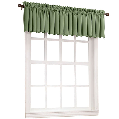 Emory Rod-Pocket Room-Darkening Valance- Sage