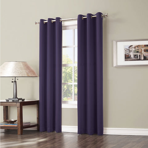 Evan Blackout Grommet-Top Curtain Panel- Blackberry