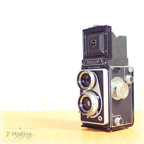 Vintage Camera #8 is an art print of the 1956 Rollop twin lens reflex (tlr) medium format camera from Germany.