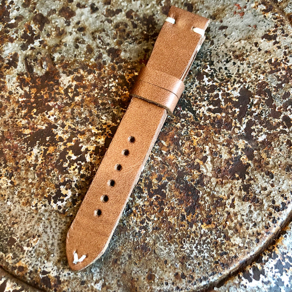 """2 Stitch"" Hand Made Leather Strap Horween Natural Old West"