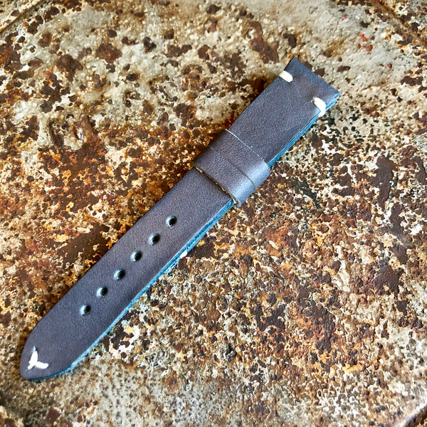 """2 Stitch"" Hand Made Leather Strap Horween Blue Gray"