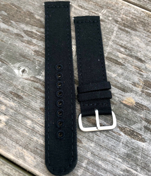 22mm Black Canvas strap