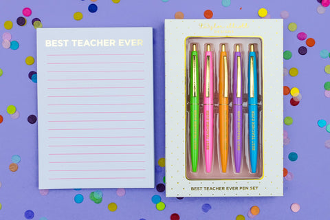 Best Teacher Ever Pen + Notepad Bundle