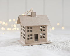 Paper Mache Cottage Ornament - Hanging Cardboard Craft House