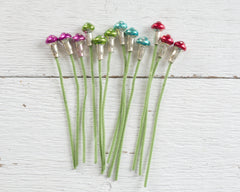 Miniature Mercury Glass Mushroom Picks - Chenille Craft Stems, 12 pcs.