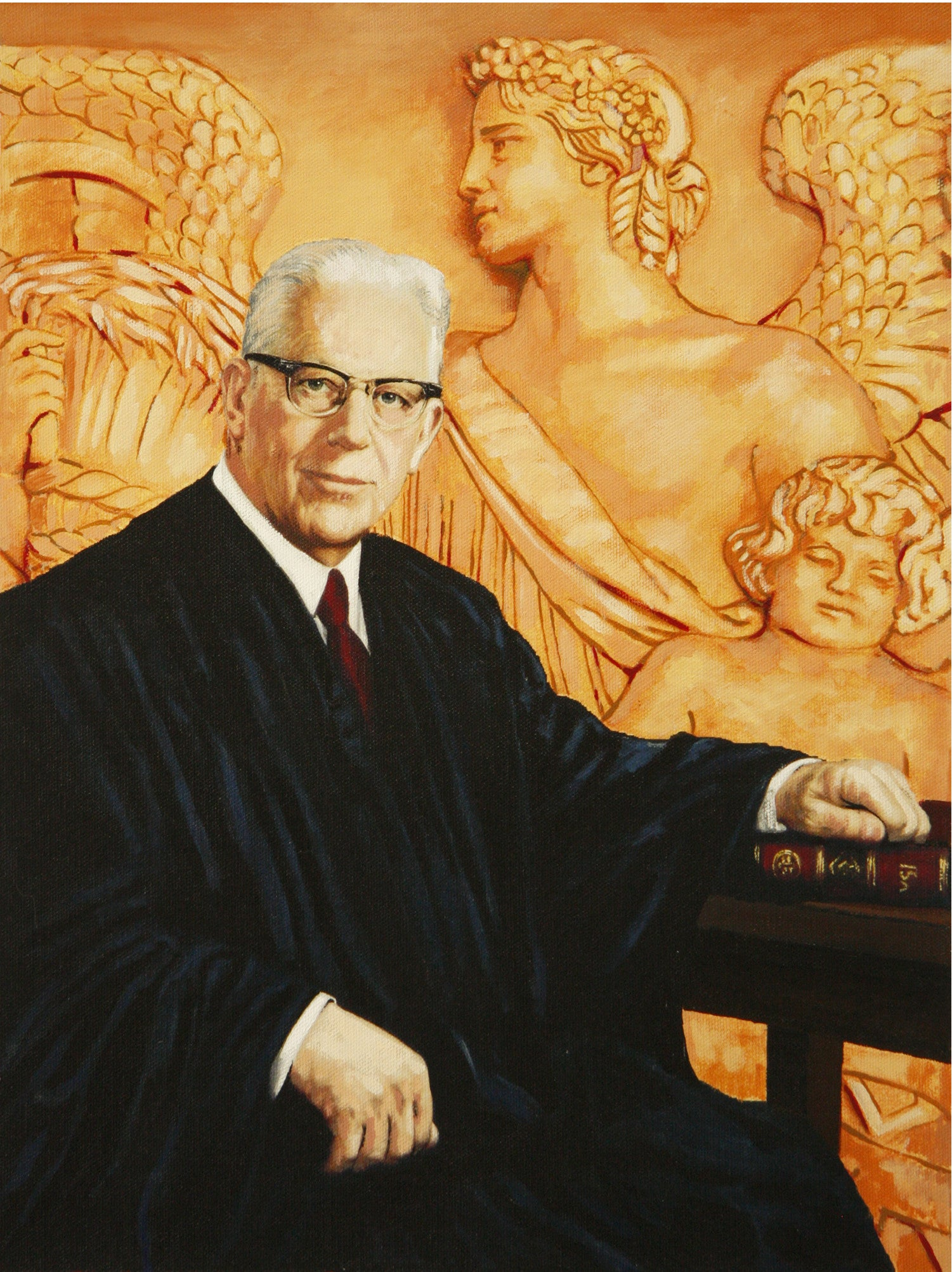 Chief Justice Earl Warren against the Supreme Court north frieze by artist Trevor Goring