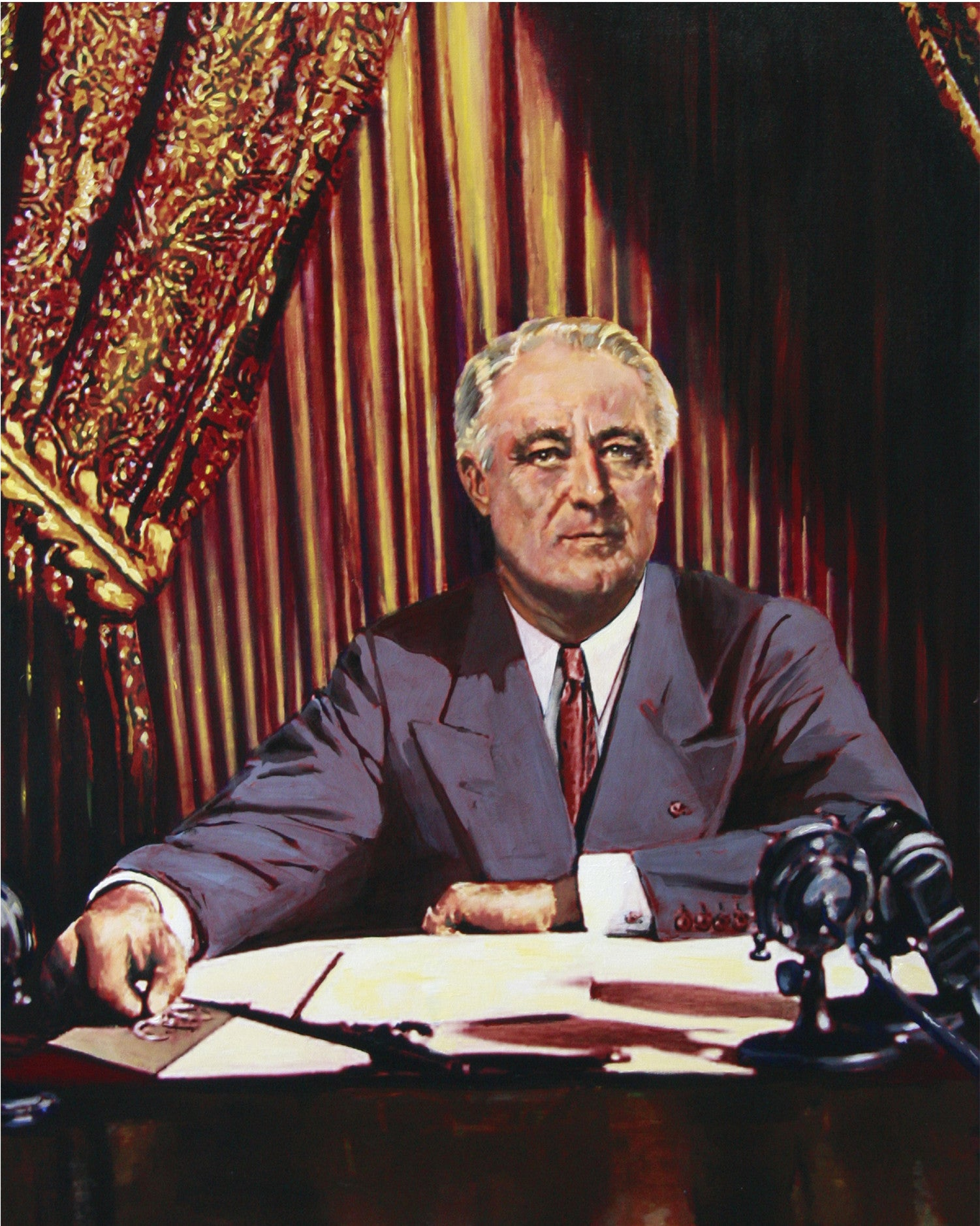 Franklin D. Roosevelt delivers his Fireside Chat radio braodcast. by artist Trevor Goring