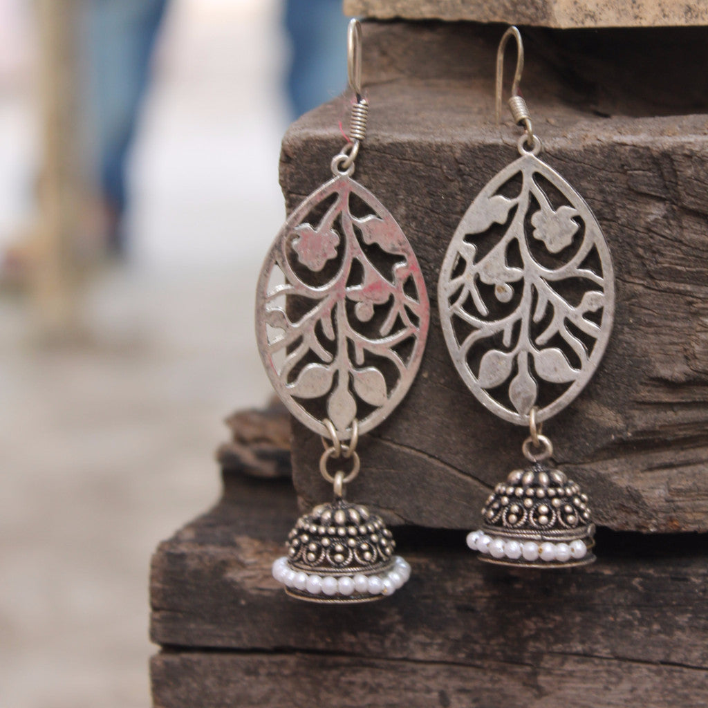 Earring: Floral motif with jhumka