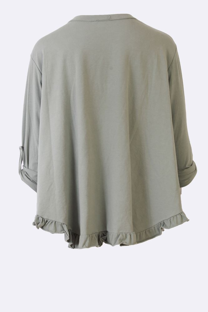 Mckayla Cotton Frill Hem Pocket Top - Love My Fashions - Womens Fashions UK