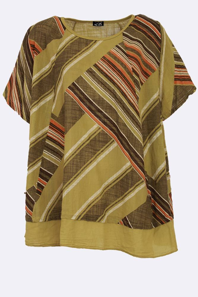 Cadi Cotton Stripe Paneled Trapeze Top - Love My Fashions - Womens Fashions UK