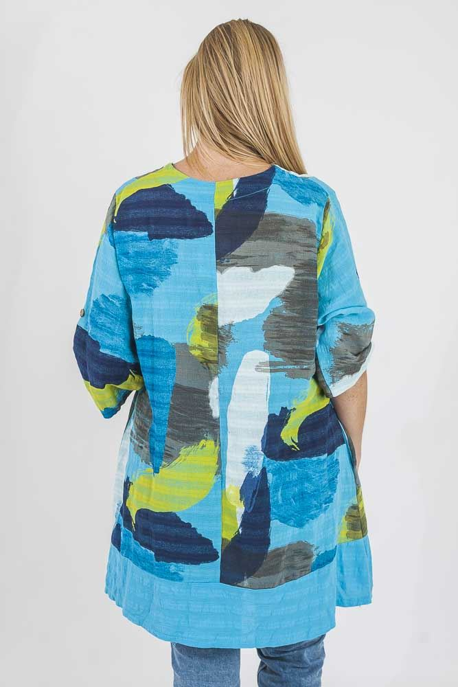 Kyleigh Cotton Abstract Paint Contrast Hem Top - Love My Fashions - Womens Fashions UK