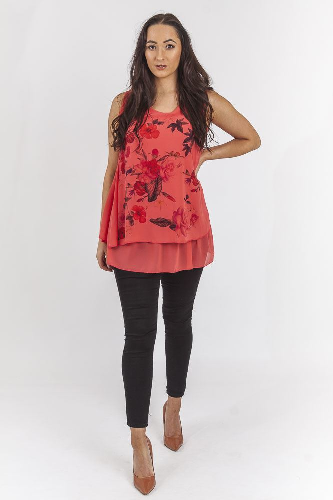 Tori Floral Chiffon Layered Top - Love My Fashions - Womens Fashions UK