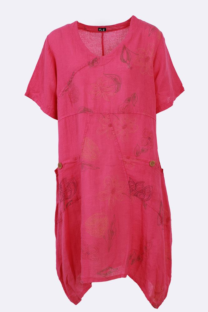 Jemimah Linen Abstract Floral Hanky Paneled Tunic Top - Love My Fashions - Womens Fashions UK