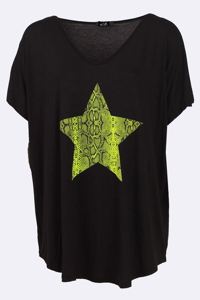 Kaelyn Snake Star Print Jersey Top - Love My Fashions - Womens Fashions UK