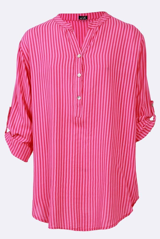 Ansley Viscose Contrast Baby Stripe Dip Hem Top - Love My Fashions - Womens Fashions UK