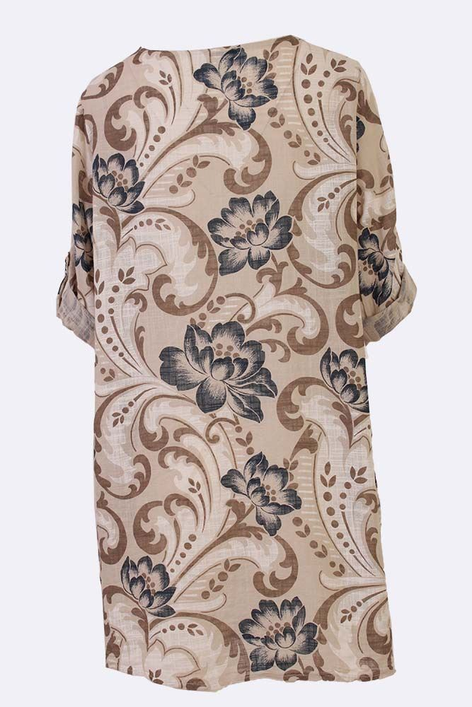 Mercedes Cotton Floral Pattern Tunic Top - Love My Fashions - Womens Fashions UK