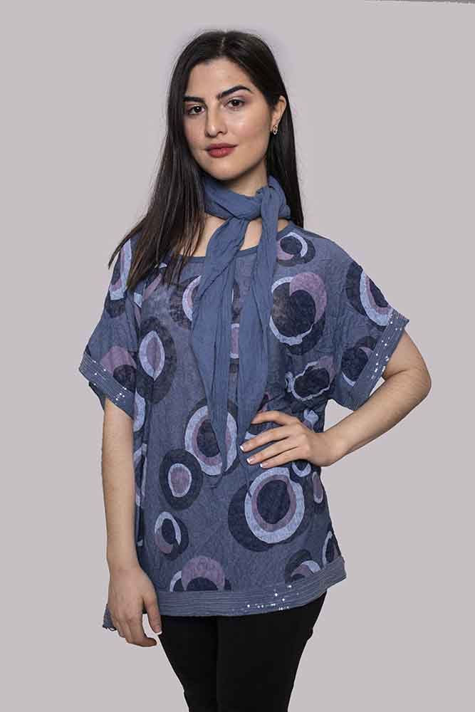 Francesca Abstract Circle Sequin Scarf Top - Love My Fashions - Womens Fashions UK