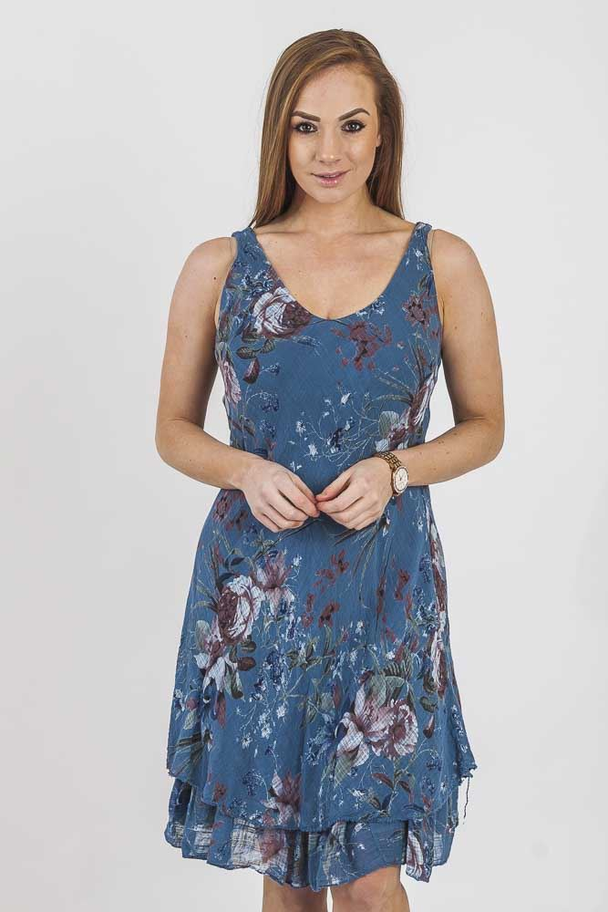 Jasmyn Mixed Lilly Peony Floral Tiered Hem Dress - Love My Fashions - Womens Fashions UK