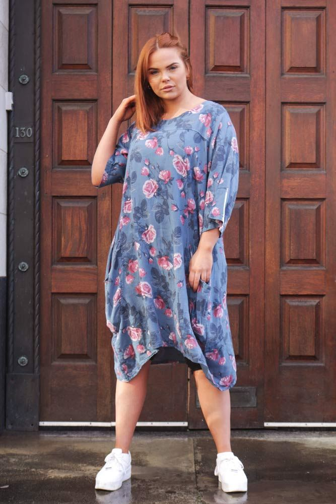 Maribel Rose Print Linen Dress - Love My Fashions - Womens Fashions UK