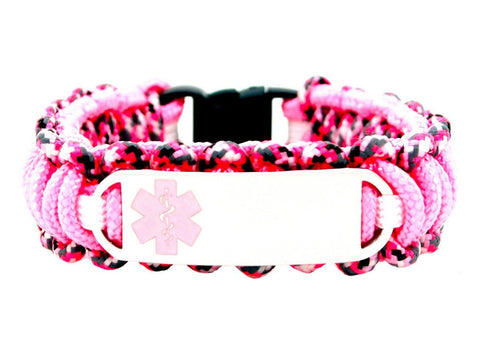 275 Paracord Bracelet with Engraved Small Rectangle Stainless Steel Medical Alert ID Tag - Light Pink