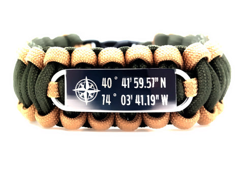 550 Paracord Bracelet with coordinates